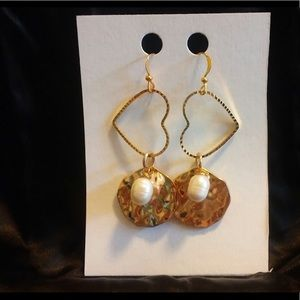 Jewelry - Heart Earrings with Fresh Water Pearls